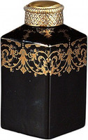 Luxe Life Solid Black with Gold Scrollwork - Luxury Hand Painted Porcelain and Gilt Bronze Ormolu - 7 Inch Square Jar