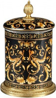 Luxe Life Black with Gold Scroll Pattern - Luxury Hand Painted Porcelain and Gilt Bronze Ormolu - 11 Inch Decorative Container