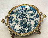Luxury Hand Painted Chinese Porcelain and Gilt Bronze Ormolu - 7 Inch Reproduction Blue and White Coaster Set of 2