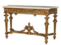 Louis XVI Style - 62 Inch Reproduction Console | Entry Table - Gilt Luxurie Furniture Finish