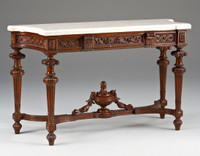 Louis XVI Style - 62 Inch Reproduction Console | Entry Table - Distressed Walnut Luxurie Furniture Finish