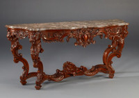"A Versailles Louis XIV French Baroque Period - 77"" Handcrafted Reproduction Entry Table Console - Walnut Luxurie Furniture Finish, 6245"