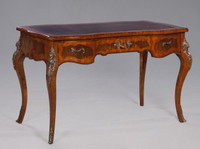 Louis XV Style - 51 Inch Rococo Reproduction Writing Desk - Wood Luxurie Furniture Finish with Gilt Brass Ormolu Mounts