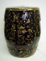 Ebony Black and Gold Pagoda - Luxury Handmade and Painted Reproduction Chinese Porcelain - 18 Inch Accent Table Garden Seat - Style 103
