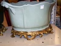 Lyvrich Handmade Luxury Porcelain and Gilded Ormolu - 19 Inch Statement Centerpiece | Planter - Crackle Celadon