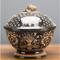 Porcelain Decorative Small Round Box - Floral Drama Pattern