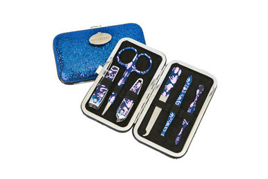 These manicure sets include cuticle pusher, tweezers, nail file, cuticle clippers, scissors and nail clippers luxuriously packaged in a petite shimmer snap case with darling patterns on every nail kit tool. Girls of all ages love this beauty gift for nail care at home and on the go.