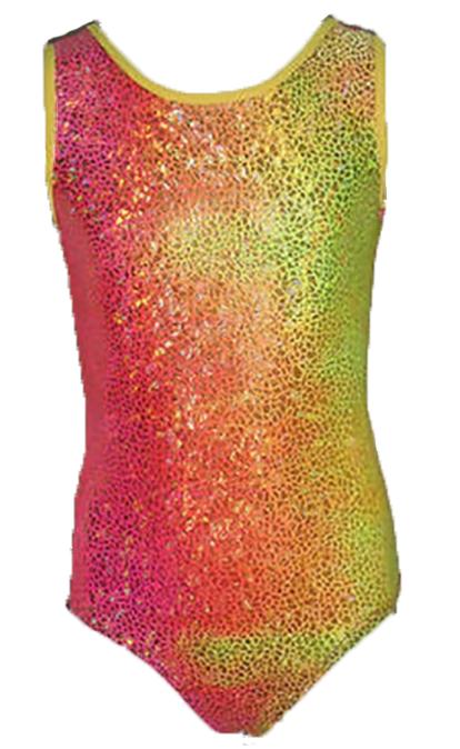 Girls Gymnastics Leotards: yellow, pink