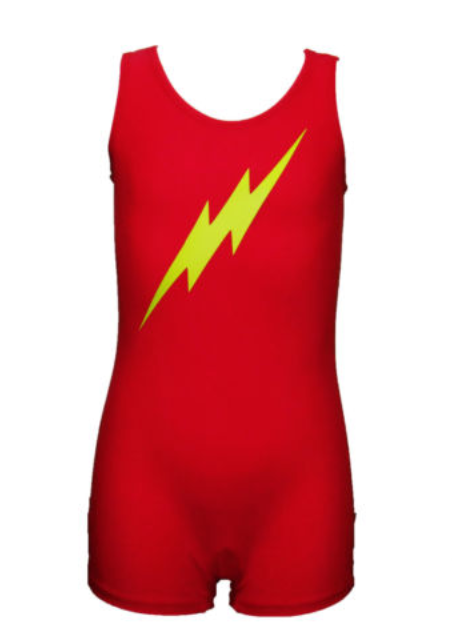 Boys Gymnastics Leotard: red, yellow, flash