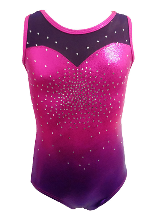 Girls Gymnastics Leotards: Pink, Purple, Rhinestones