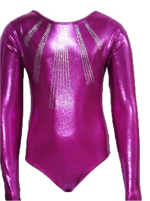 Girls Gymnastics Leotards: pink, rhinestones
