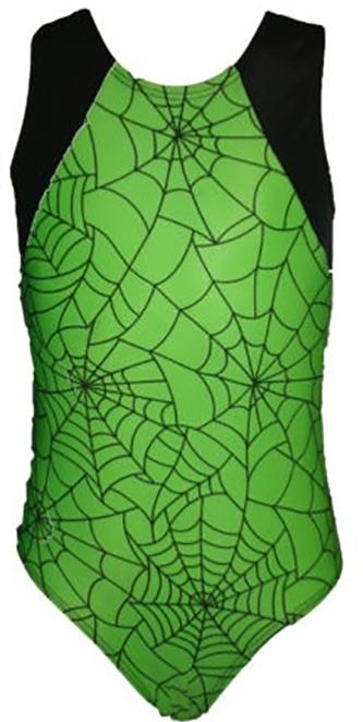 Girls Gymnastics Leotards: green, black, goblin, spider