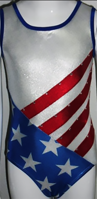 Girls Gymnastics Leotards: red, white, blue