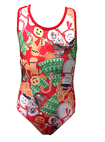 Price Drop! CHRISTMAS CHEER! In Stock Ships Next Business Day!!  Limited Edition Red, White and Green Girls Gymnastics Leotard - FREE SHIPPING and Free Scrunchie!