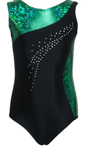 New! EMERALD ECLIPSE Sparkling Black and Green Girls Gymnastics Leotard - FREE SHIPPING and Free Scrunchie!
