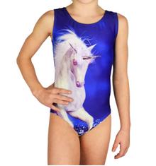 New! CRYSTAL UNICORN Dazzling Girls' Gymnastics Leotard. Embellished with Genuine Swarovski® Crystals. Free Scrunchie!