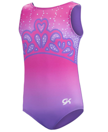 New! PRINCESS CROWN Regal Pink Girls' Gymnastics/Dance Leotard.
