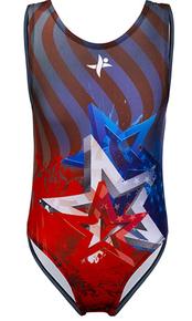 New! STAR POWER Patriotic Red, White and Blue Girls' Gymnastics Leotard.