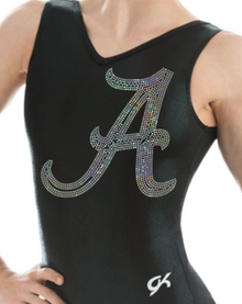 New! ALABAMA Stunning Black V-Neck Collegiate Girls Gymnastics Leotard: GK  Red or Black Mystique.  FREE Shipping.