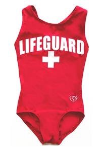 New! LIFEGUARD Stunning Baywatch  Inspired Red Girls' Gymnastics Leotard.  The Ultimate Summer Leo. Free Scrunchie!