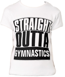 STRAIGHT OUTTA GYMNASTICS! SPRING CLEARANCE: 1 Youth Large and 1 Youth Small In Stock. Ships Next Business Day! Girls' White Bella+Canvas Fitted Babydoll T-Shirt - FREE SHIPPING!!