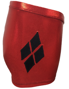 HARLEQUIN SHORTS!  Black and Red Girls Gymnastics Shorts - FREE SHIPPING and Free Scrunchie!