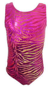 Girls Gymnastics Leotard:  Pink Zebra Foil