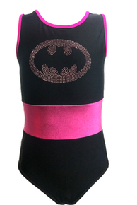 Closeout: BATGIRL POWER PINK! Ships Next Business Day!! Girls' Gymnastics Leotard.  FREE SHIPPING and Free Scrunchie!