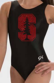 STANFORD BLACK!  Collegiate Girls Gymnastics Leotard: GK  Black and Red  Mystique.  FREE SHIPPING!