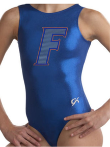 FLORIDA Collegiate Girls Gymnastics Leotard: GK  Blue Mystique.  FREE Shipping and Free Scrunchie!