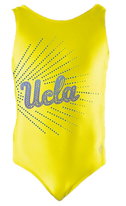 UCLA CANARY!  Girls Gymnastics Leotard:  Yellow and Blue Mystique.  FREE SHIPPING!