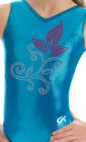 New!! BLUE FLORAL!  GK Girls' Gymnastics Leotard: Blue Mystique. FREE SHIPPING!