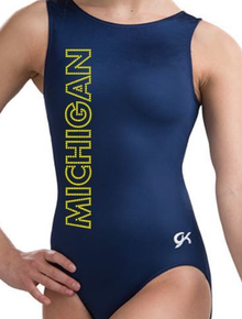 MICHIGAN BLUE and GOLD!  Girls Gymnastics Leotard: GK  Dark Blue Mystique.  FREE SHIPPING!
