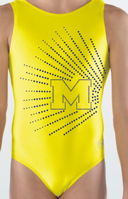 MICHIGAN CANARY!  Girls Gymnastics Leotard: Canary Yellow Mystique.