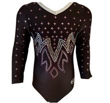 BLACK BLAZE! Black 3/4 Sleeve Nylon Girls' Gymnastics Leotard! FREE Shipping!