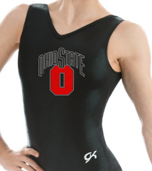 New!! OHIO STATE! Collegiate Girls' Gymnastics Leotard: GK  Black and Red  Mystique.  FREE SHIPPING!