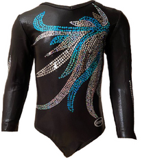 FEATHER FABULOUS! Black Mystique Sequinned 3/4 Sleeve Nylon Girls' Gymnastics/Dance Leotard! FREE Shipping!