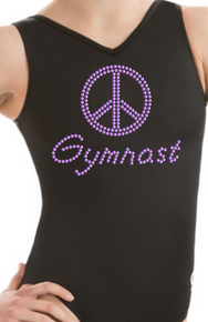 New!! PURPLE PEACE!  Girls' Gymnastics/Dance Leotard: Black with Purple Spangle  Accents.  FREE Shipping and Free Scrunchie!