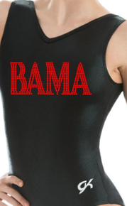 New! BAMA Collegiate Girls Gymnastics Leotard: GK  Black and Red  Mystique.  FREE SHIPPING!