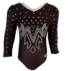 Price Drop! MIDNIGHT EXPRESS Dazzling Black 3/4 Sleeve Nylon Girls' Leotard! FREE Shipping!