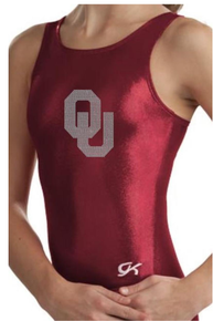 OKLAHOMA RED Collegiate Girls Gymnastics Leotard: GK  Red  Mystique.  FREE Shipping and Free Scrunchie!