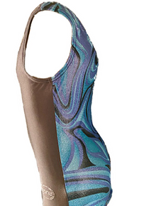 New!! OCEAN MARBLE! Girls' Gymnastics Leotard: Slate Gray/Blue Marble Back. FREE SHIPPING!