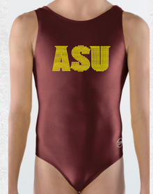 ARIZONA STATE Collegiate Girls' Gymnastics Leotard: Burgundy Mystique.
