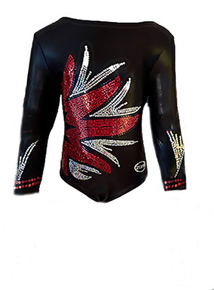 New!! RED FIREWORKS: Black Mystique Red and Silver Sequined  Long Sleeve Nylon Girls' Gymnastics/Dance Leotard! FREE Shipping!