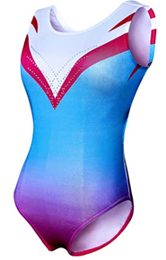 Price Drop! ROSE OMBRE Girls Gymnastics Leotard. Red, White and Blue with Dazzling Rhinestones- FREE SHIPPING.