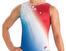 20% Off SHOOTING STARS Girls' Gymnastics Leotard.  Patriotic Red, White and Blue.