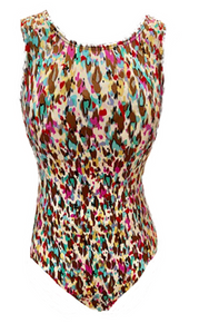 Price Drop! CONFETTI RAIN Festive Girls' Gymnastics/Dance Leotard: FREE SHIPPING and Free Scrunchie!