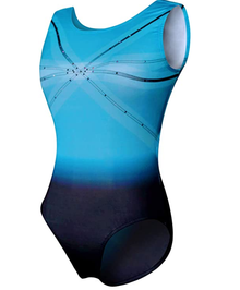 New! BLUE SKY OPEN BACK Girls' Gymnastics Leotard. Blue Ombre with Dazzling Rhinestones- FREE SHIPPING!