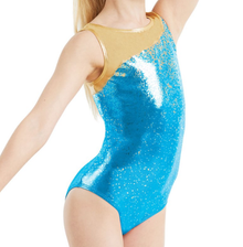 New! GOLD CONFETTI Girls' Gymnastics/Dance Leotard. Gold/Peacock. FREE Shipping and Free Scrunchie!