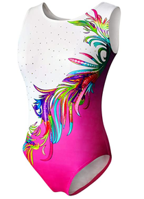 New! MARDI GRAS Girls' Gymnastics Leotard. Pink and White with Dazzling Rhinestones- FREE SHIPPING.